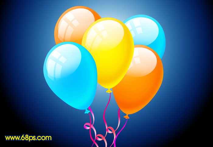 Photoshop制作漂亮的彩色气球_亿码酷站___亿码酷站平面设计教程