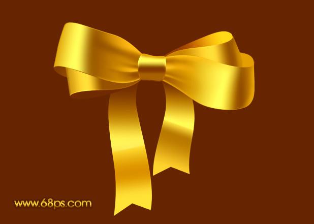 Photoshop制作漂亮的金色礼品结_亿码酷站___亿码酷站平面设计教程
