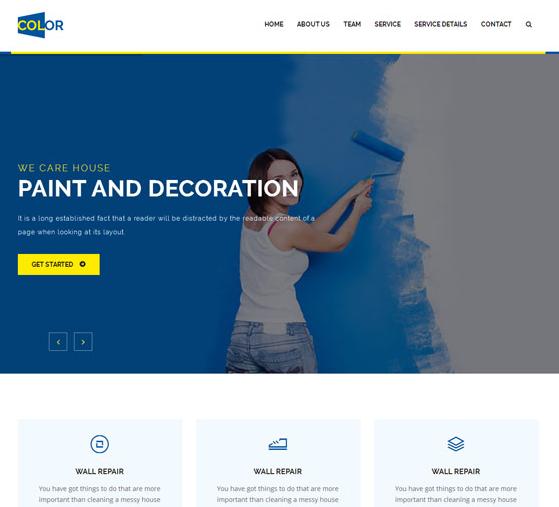 蓝色墙壁粉刷公司网站模板_亿码酷站网站源码下载
