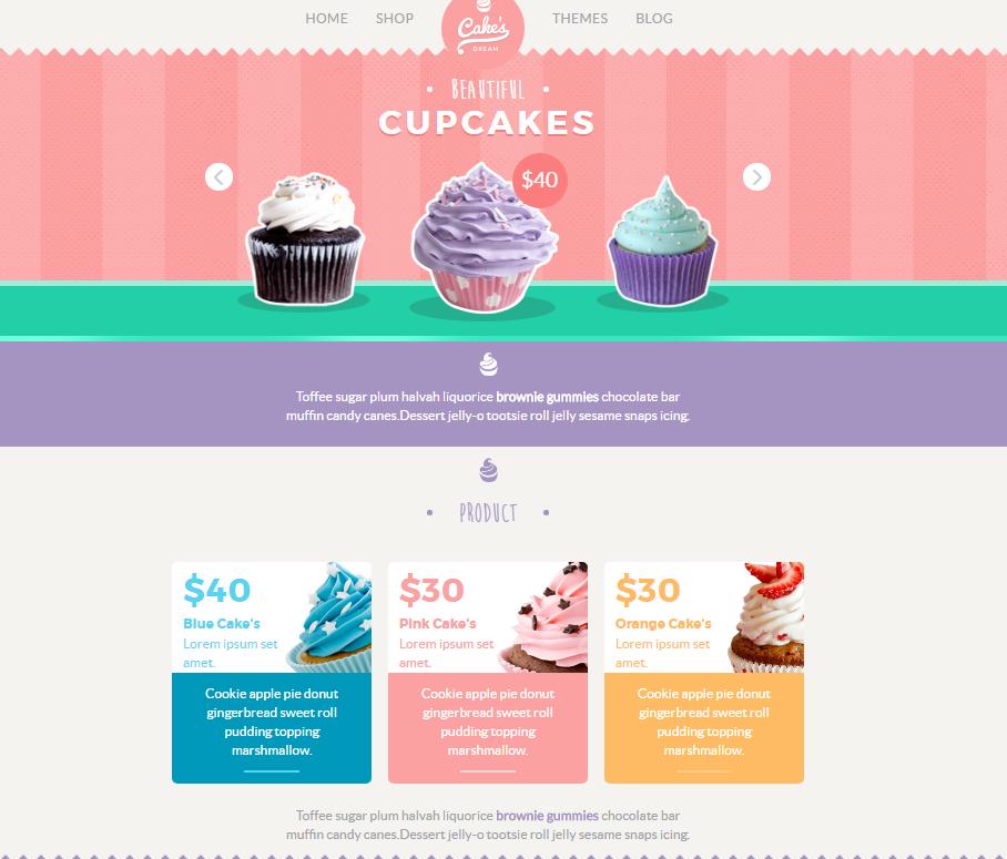 响应式甜品电商网站模板_php网站模板
