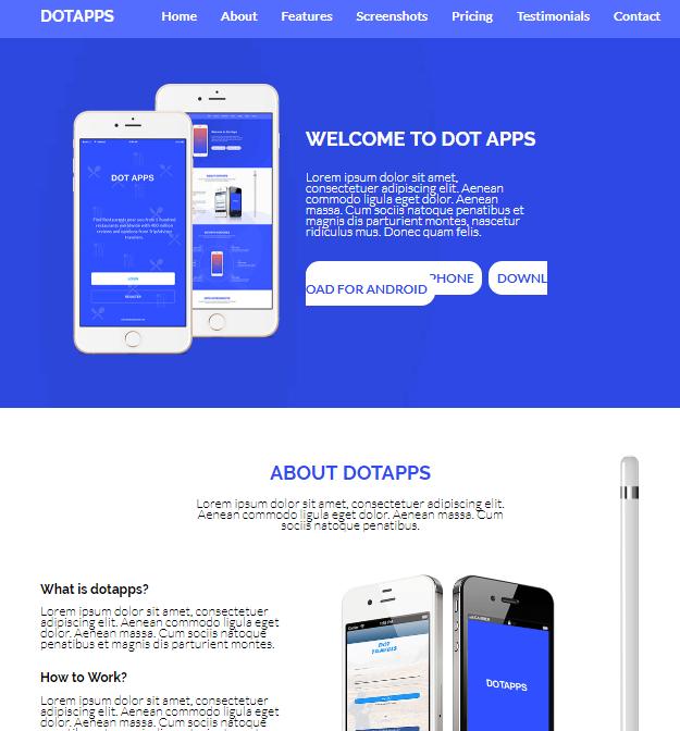 蓝色app宣传介绍网站模板_wordpress主题