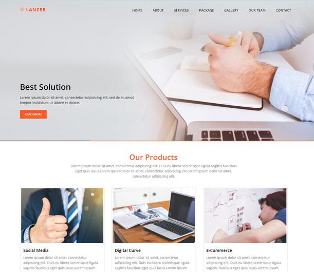 橘黄色公司官网展示网站模板_html网站模板
