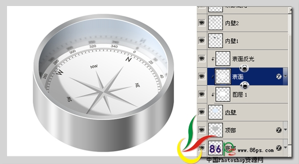 PS绘制金属质感袖珍指南针_亿码酷站___亿码酷站平面设计教程插图18
