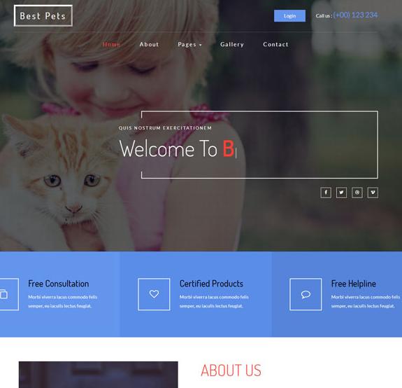 宠物领养交易平台网站模板_亿码酷站