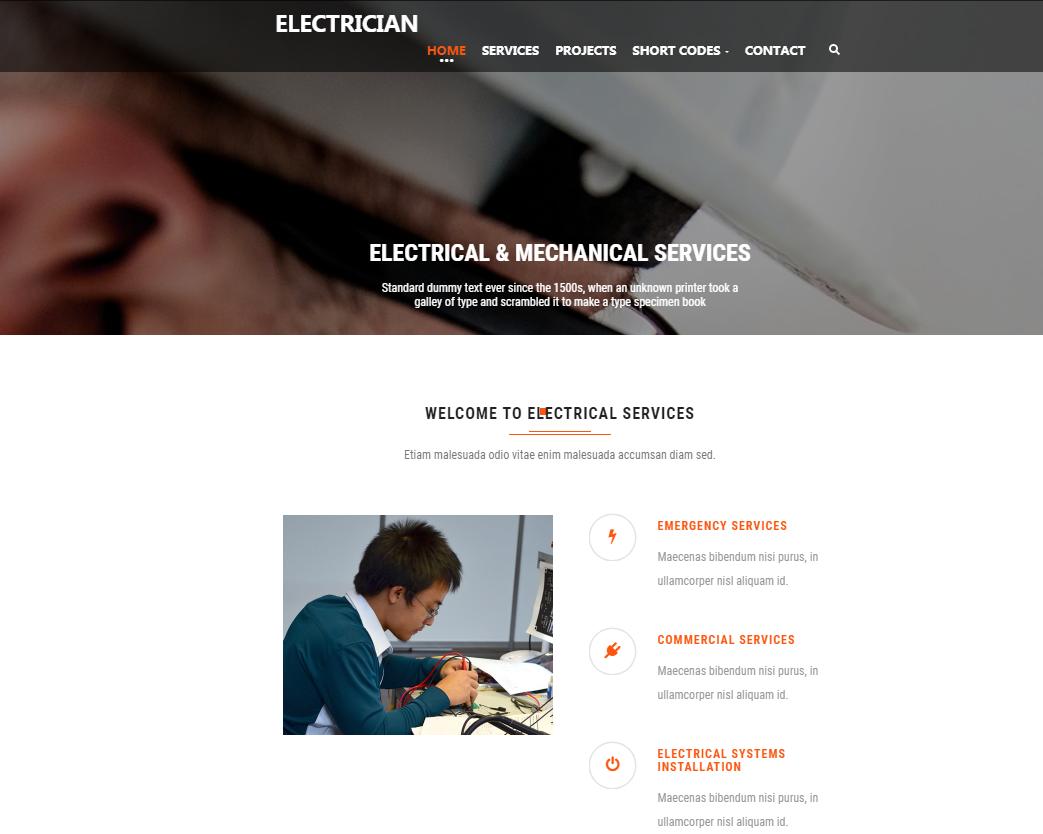 电工维修修理前端模板_html网站模板
