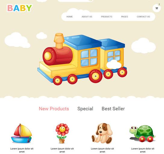 可爱学龄前儿童用品商城模板_php网站模板