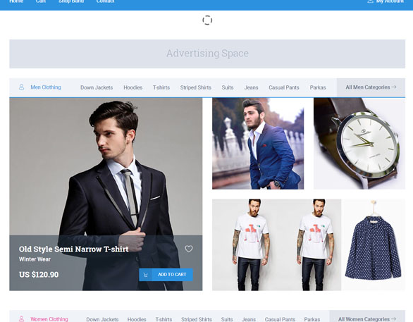 蓝色大图服装电商网页模板_html网站模板