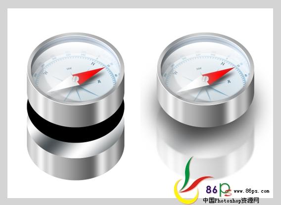 PS绘制金属质感袖珍指南针_亿码酷站___亿码酷站平面设计教程插图32