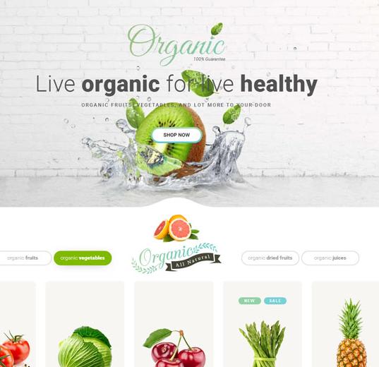 有机水果蔬菜销售商城模板_企业官网模板