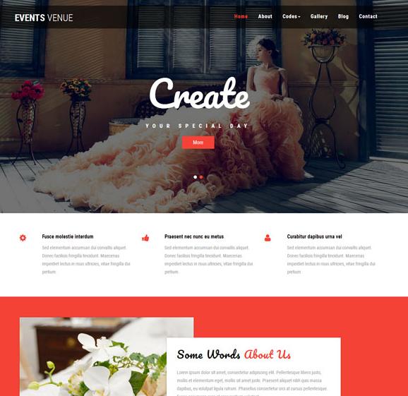 红色婚礼策划宽屏网站模板_html网站模板
