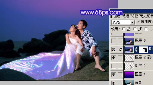Photoshop打造梦幻色彩的夜景婚纱照_亿码酷站___亿码酷站平面设计教程插图6