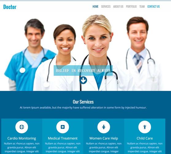 蓝色医疗医院HTML5前端模板下载_php网站模板