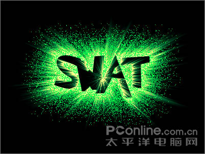Photoshop制作亮光放射文字特效_亿码酷站___亿码酷站平面设计教程插图1