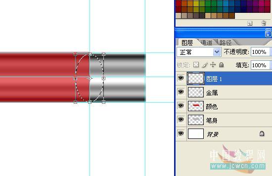 PS绘制一只红色铅笔_亿码酷站___亿码酷站平面设计教程插图7