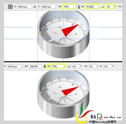 PS绘制金属质感袖珍指南针_亿码酷站___亿码酷站平面设计教程插图20