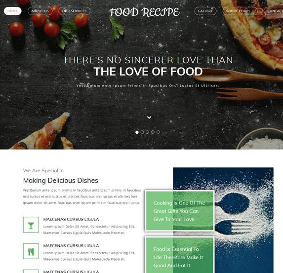小清新美食行业响应式网站模板_php网站模板