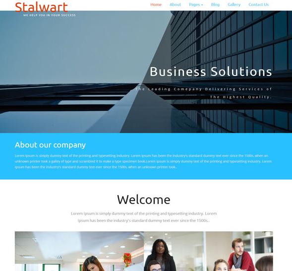 蓝色宽屏整洁企业网站模板_亿码酷站网站源码下载