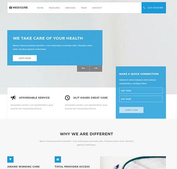 蓝色儿童医院网站模板_html网站模板