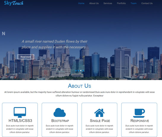 紫色蓝色城市建筑网站模板_html网站模板