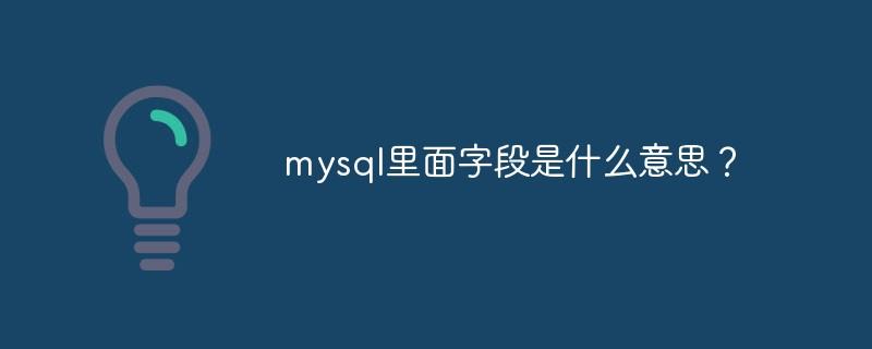 mysql里面字段是什么意思?_编程技术_亿码酷站