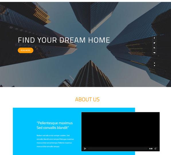 天蓝色房屋装修方案网站模板_帝国cms模板