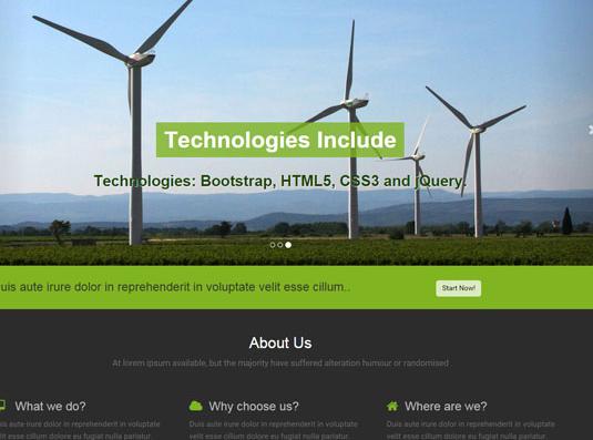 绿色宽屏风车网站模板_帝国cms模板