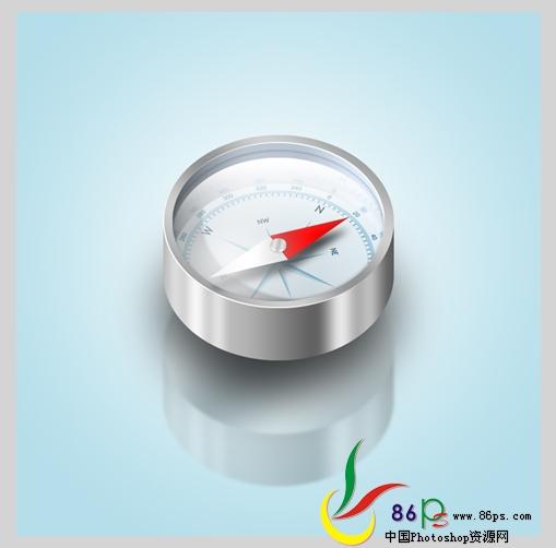 PS绘制金属质感袖珍指南针_亿码酷站___亿码酷站平面设计教程插图