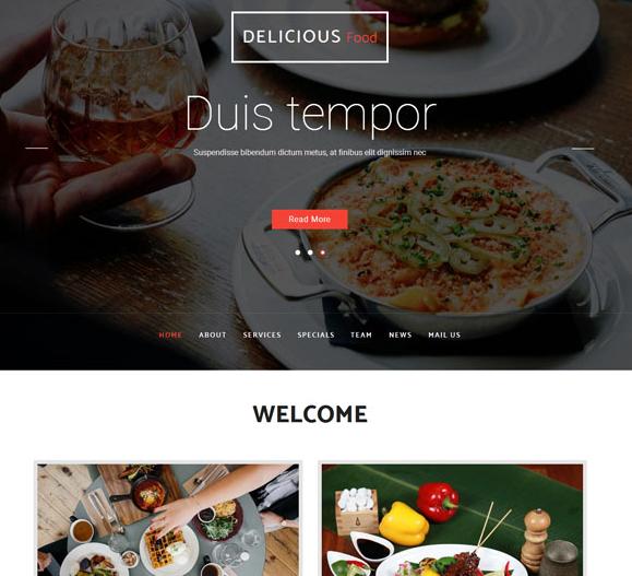 大气自助海鲜美食行业html5模板_php网站模板