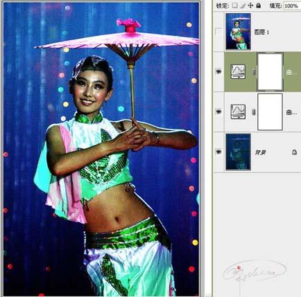 Photoshop曲线修复严重偏暗的舞台照片_亿码酷站___亿码酷站平面设计教程插图5