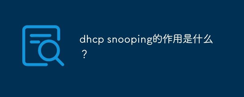 dhcp snooping的作用是什么?_编程技术_亿码酷站