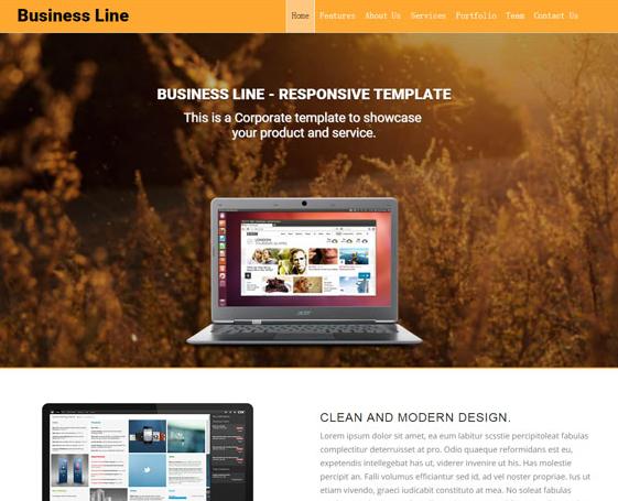 橙色风格网站设计前端单页模板_亿码酷站