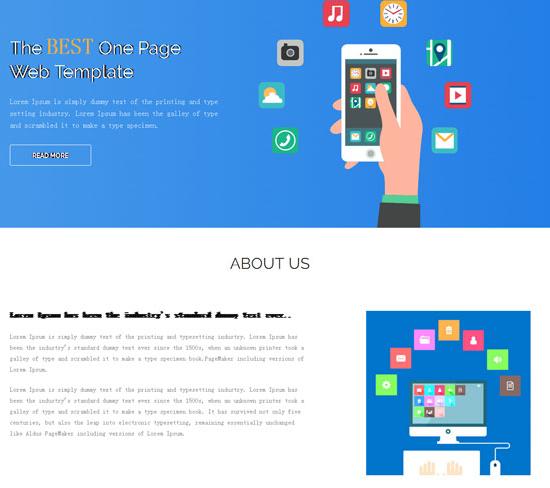 蓝色小清新手机业务网站模板_php网站模板