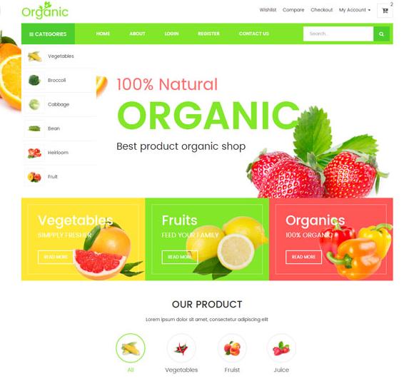 绿色健康水果网上商城模板下载_亿码酷站