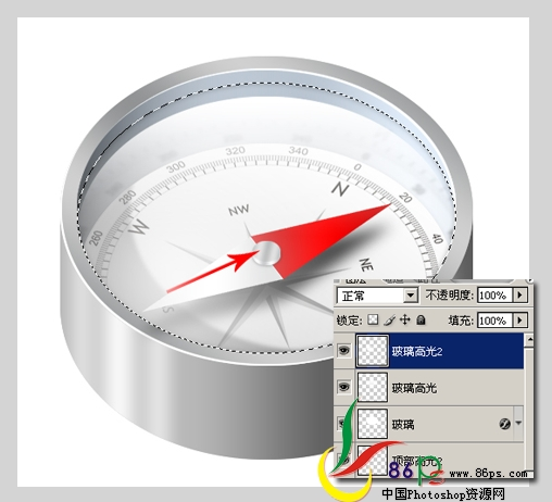 PS绘制金属质感袖珍指南针_亿码酷站___亿码酷站平面设计教程插图29