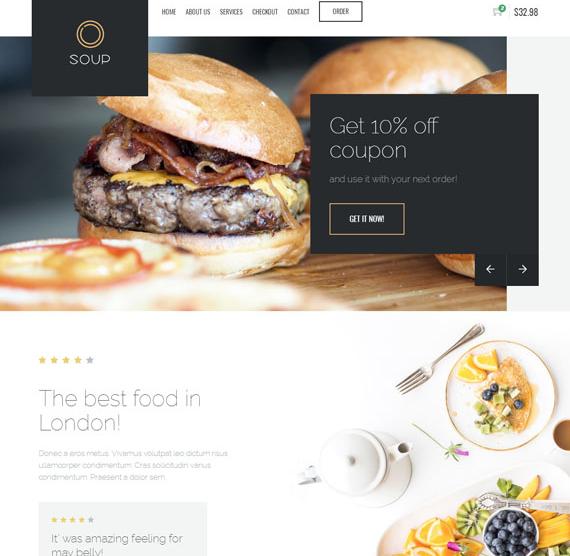 黄色HTML5餐厅美食网站模板_wordpress主题