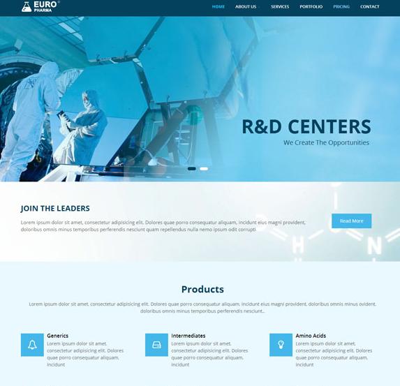 蓝色医学研究机构网站模板_亿码酷站
