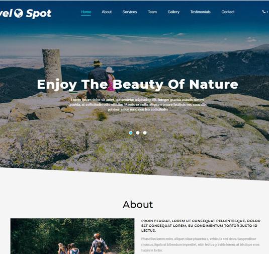蓝白色全屏旅游风景区网站模板_html网站模板