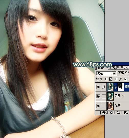 Photoshop调色教程:漂亮的青色非主流MM_亿码酷站___亿码酷站平面设计教程插图3