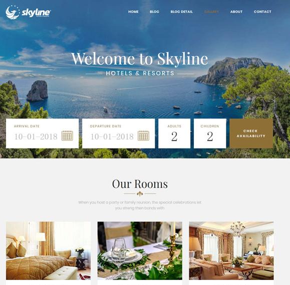 响应式旅行宾馆预订网站模板_企业官网模板