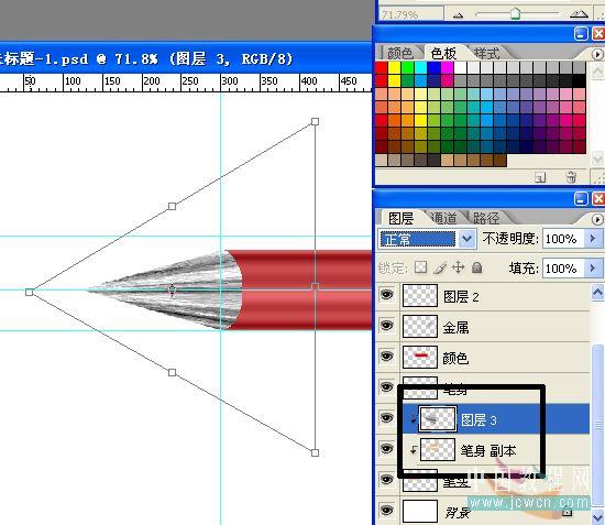 PS绘制一只红色铅笔_亿码酷站___亿码酷站平面设计教程插图22