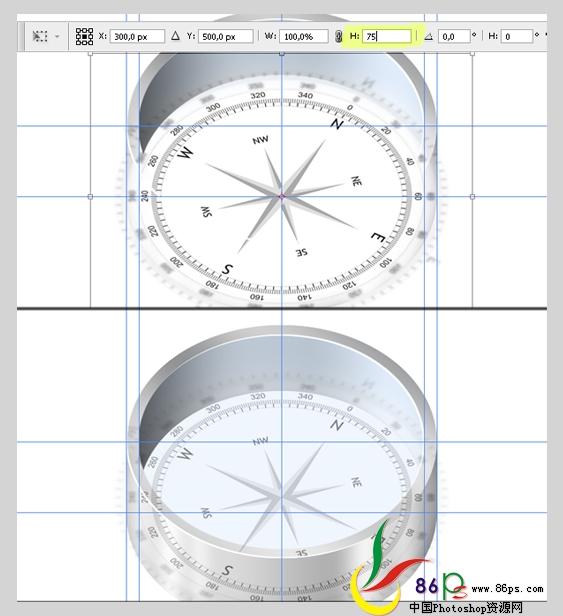 PS绘制金属质感袖珍指南针_亿码酷站___亿码酷站平面设计教程插图15