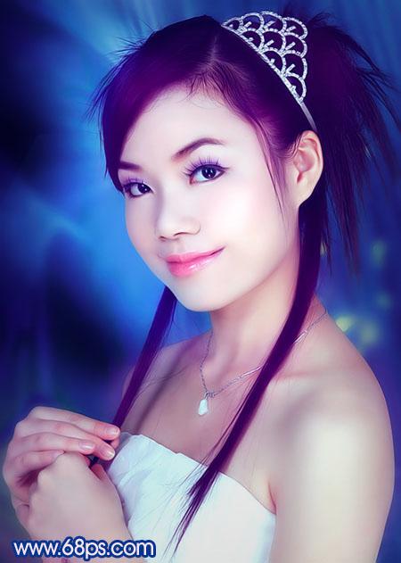Photoshop调色教程:艳丽蓝色调的人物照片_亿码酷站___亿码酷站平面设计教程插图1