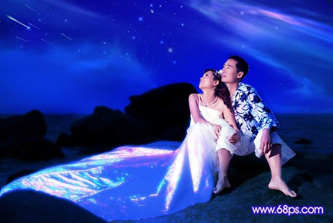 Photoshop打造梦幻色彩的夜景婚纱照_亿码酷站___亿码酷站平面设计教程插图1