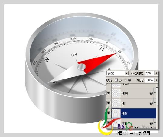 PS绘制金属质感袖珍指南针_亿码酷站___亿码酷站平面设计教程插图25