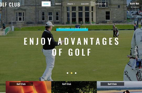 高尔夫球运动俱乐部网站模板_企业官网模板