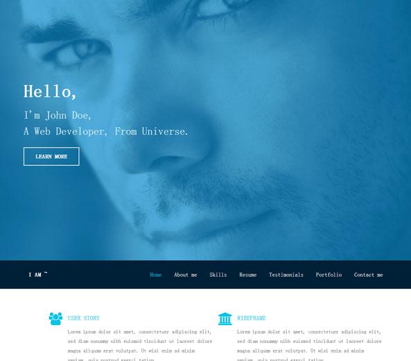 成熟成功男士蓝色前端网站模板_亿码酷站网站源码下载