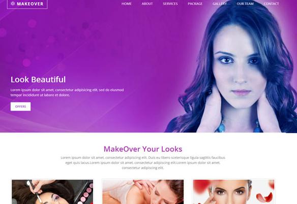 淡紫色SPA按摩网站模板_企业官网模板