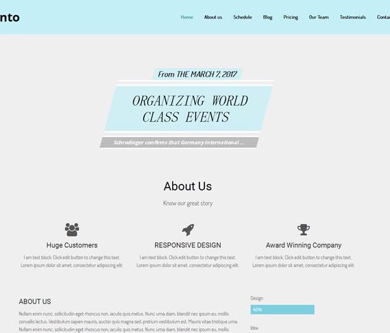 蓝灰派对事务活动专题网站模板_php网站模板