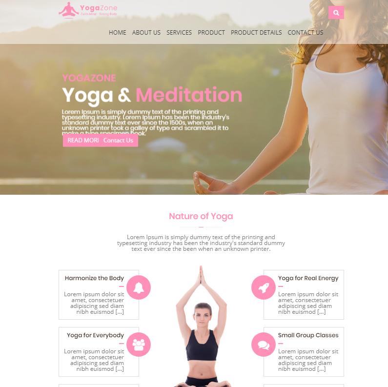 粉色响应式瑜伽前端模板_亿码酷站网站源码下载