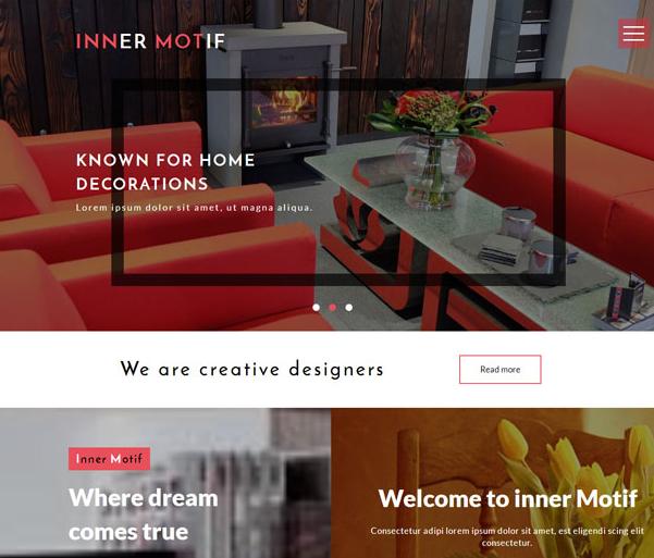 红色室内家居装修网站模板_企业官网模板